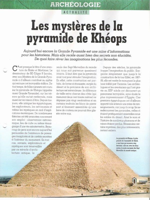 ACTUALITE  :  (  LES MYSTERES DE LA PYRAMIDE DE  KHEOPS  )  .