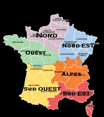 carte de france region sud ouest