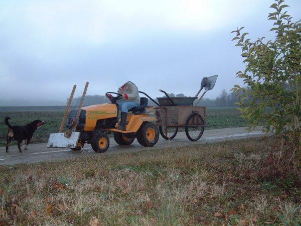 Transport avec Tracteur tondeuse.