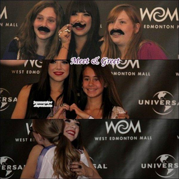 14/10/2012 - Carly s'est rendue dans un magasin d'Edmonton pour la promo' de Kiss 15/10/2012 - Carly était à Edmonton pour la Believe Tour (ALBERTA)