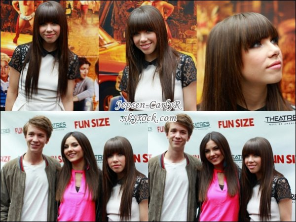 "20/10/2012 - Carly présentait l'évènement ""FunSize Mall Of America Screening"""