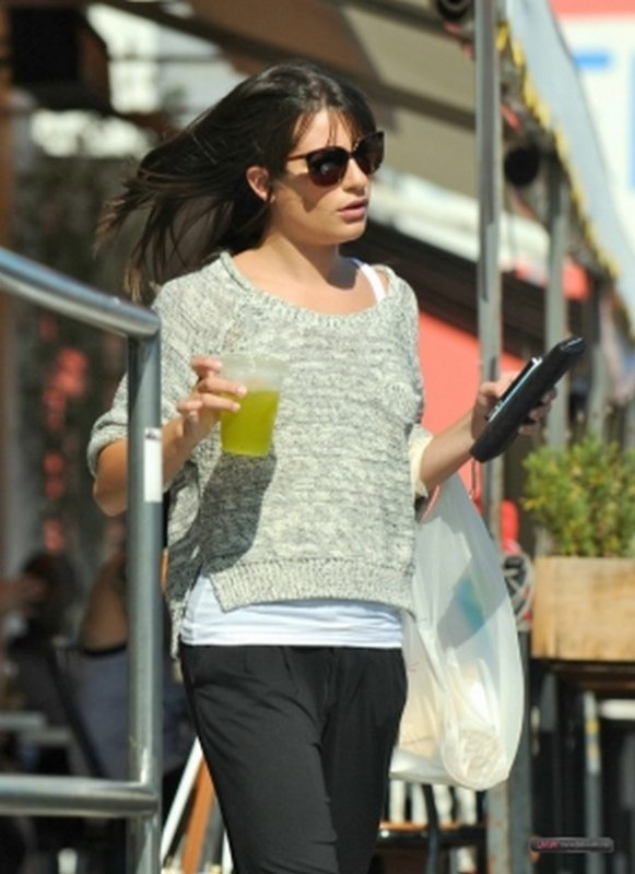 Lea grabs a drink after a Glee cast photoshoot