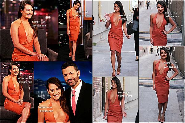 * 22/09/15 :  Lea M. s'est rendue sur le plateau de l'émission de talk-show « Jimmy Kimmel Live », à Hollywood. Lea faisait la promotion de la nouvelle série Scream Queens. Elle est ravissante et souriante. J'aime beucoup les deux tenues qu'elle porte, des Tops  *