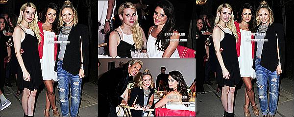 * 21/08/15 :  Lea Michele a assisté à un dîner célébrant la campagne  « Aerie REAL »  qui avait lieu à Los Angeles. Lea a posé avec ses amies Emma Roberts et Becca Tobin. Lea est tout simplement radieuse. J'aime trop la tenue qu'elle porte. Je lui donne un Top.  *