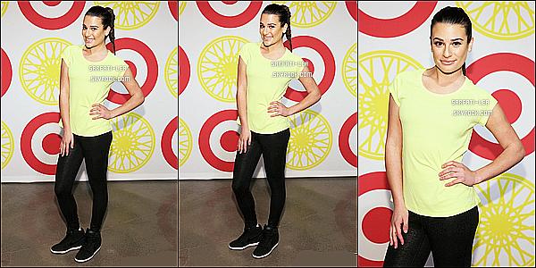 * 14/01/16 :  Lea Michele était présente lors de l'événement  «  SoulCycle x Target Launch Even », à New York. Lea était présente avec Hilary Duff. Les deux artistes ont assisté à une séance de formation dans une salle de gym. Lea porte une tenue simple, Top  *