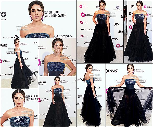 * 28/02/16 :  Lea a assisté à l'événement « Elton John AIDS Foundation » - qui avait lieu dans West Hollywood. Lea est tout à fait resplendissante. Sa coiffure et son maquillage sont jolis. Sa robe est magnifique et lui va à merveille je trouve. Un Top pour moi.  *