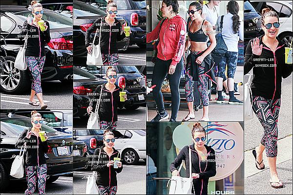 * 27/02/16 :  Lea Michele a été aperçue sortant de la salle de sport « SoulCycle » qui se trouve dans Los Angeles. Lea est jolie et souriante à la fois. J'aime beaucoup sa tennue de sport, il y a un peu de couleurs et ça change de d'habitude. C'est un Top pour moi.  *