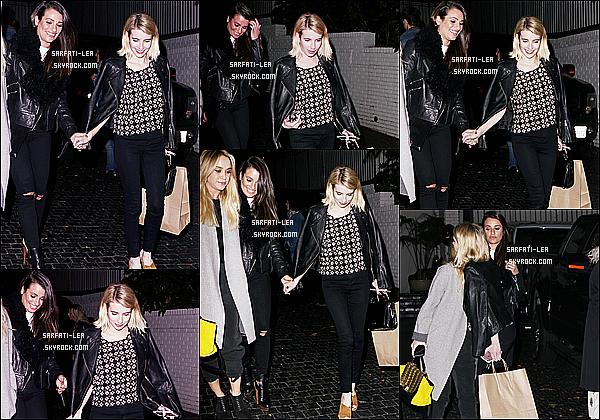* 20/02/16 :  Lea Michele a été repérée lorsqu'elle quittait le « Chateau Marmont » - qui se situe à Los Angeles. Lea était accompagnée de ses amies Emma Roberts et Becca Tobin. Lea est belle et souriante. J'aime bien la tenue qu'elle porte. Je lui mets un Top.  *