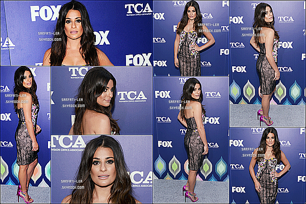 * 08/08/16 : Lea M. a assisté à l'événement «  FOX Summer TCA Press Tour », se déroulant dans Los Angeles. Lea est une fois de plus vraiment ravissante. Comme toujours  j'adore sa coiffure et son maquillage. Sa robe est très jolie aussi. C'est un beau Top !  *