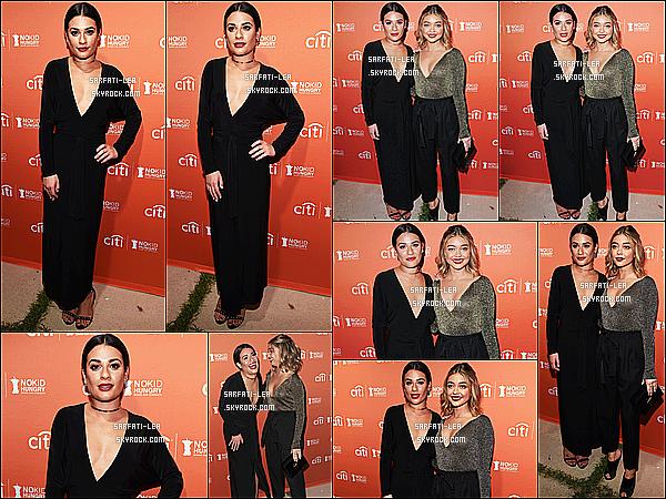 * 28/09/16 : Lea Michele a assisté lors de l'événement « No Kid Hungry Dinner », qui avait lieu à Los Angeles. Lea est tout simplement sublime. Elle a posé aux côtés de Sarah Hyland. J'aime bien la tenue que Lea porte, ainsi que son collier qui est joli. Un Top  *