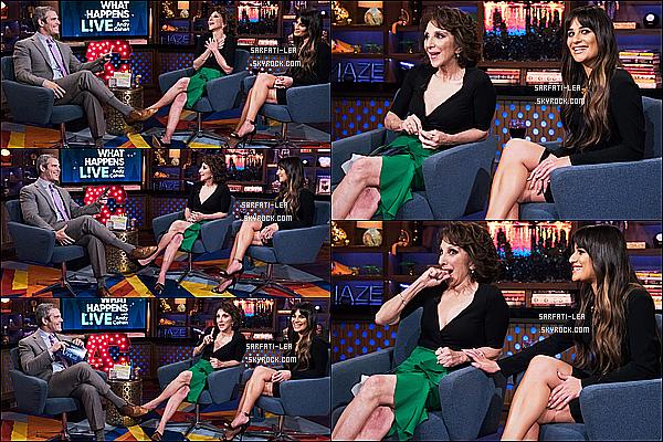 * 25/04/17 : Lea était invité dans l'émission « Watch What Happens Live with Andy Cohen » dans New York. Lea est cette fois-ci à New York pour la promotion de son nouvel album. Elle est toute belle et souriante. J'aime bien la tenue qu'elle porte. Un Top.  *