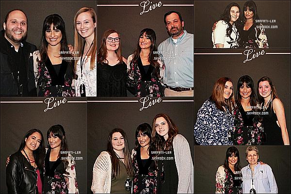 * 03/05/17 : Lea Michele a donnait son deuxième concert au « Shubert Theatre » - qui se trouve dans Boston. C'est à Boston que Lea a donné son deuxième concert pour la sortie de son nouvel album. Lea a posé avec ses fans lors d'un Meet & Greet. Un Top.  *