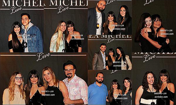 * 06/05/17 : Lea Michele a donné un concert dans la salle du « Massey Hall » se trouvant à Toronto, au Canada. Lea est toute belle. J'aime beaucoup sa robe rose, ça lui va bien je trouve. Elle a de nouveaux posé avec des fans à un Meet & Greet. C'est un Top.  *