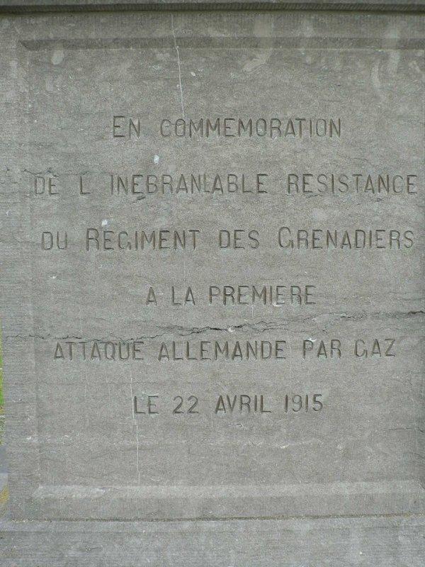 Steenstraete - Plaque du monument des Grenadiers