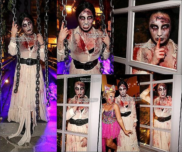 .   31.10.13 : Demi, fêtant Halloween avec ses amis, et sa famille à West Hollywood.  .