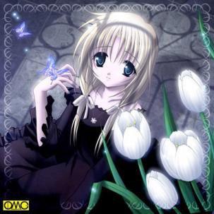 Même si je suis triste .... Fleurs blanches restent