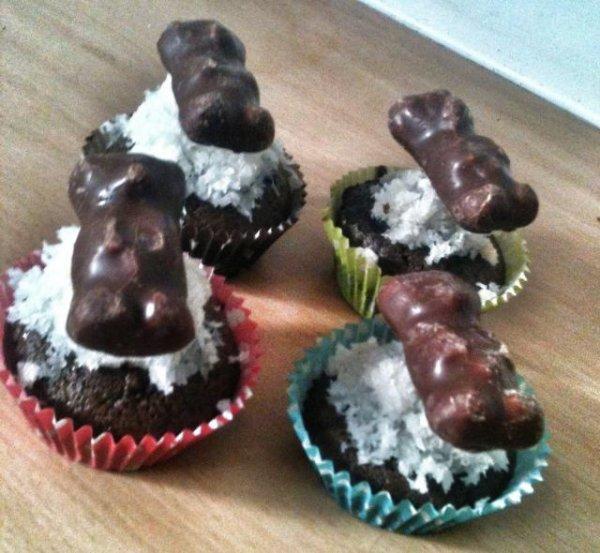 Cupcake ourson guimauve noix de coco