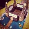 Gâteau château chocolat et biscuits