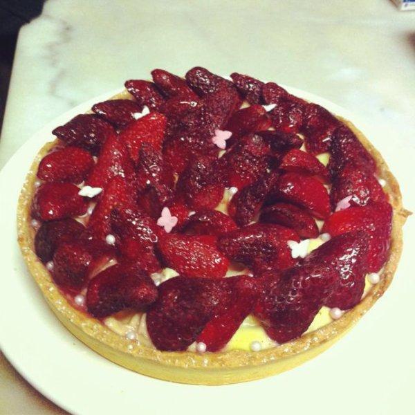 Tarte aux fraises avec une crème d'amande !
