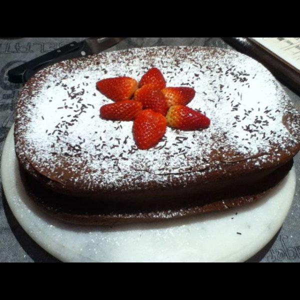 Fondant au chocolat et fraises