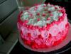 Gâteau fleurs roses et rouges