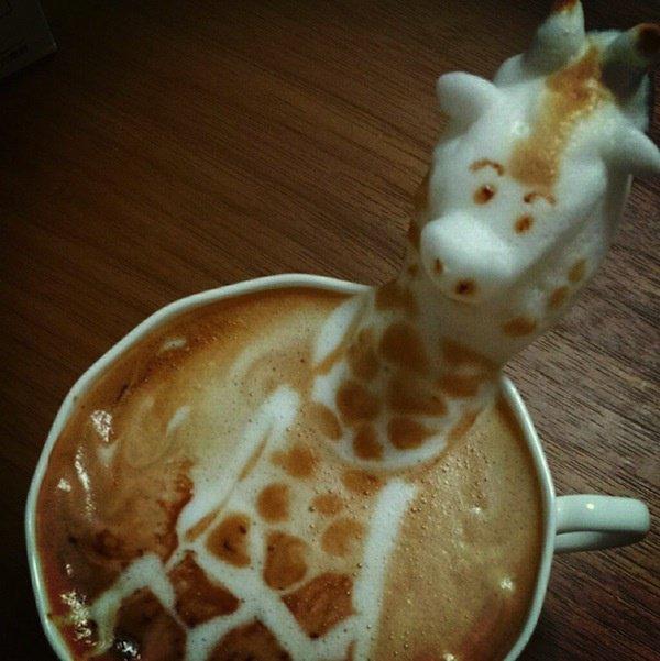 Latte cream coffee (crème au lait café) forme girafe