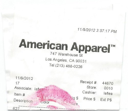 Ticket de caisse American Apparel
