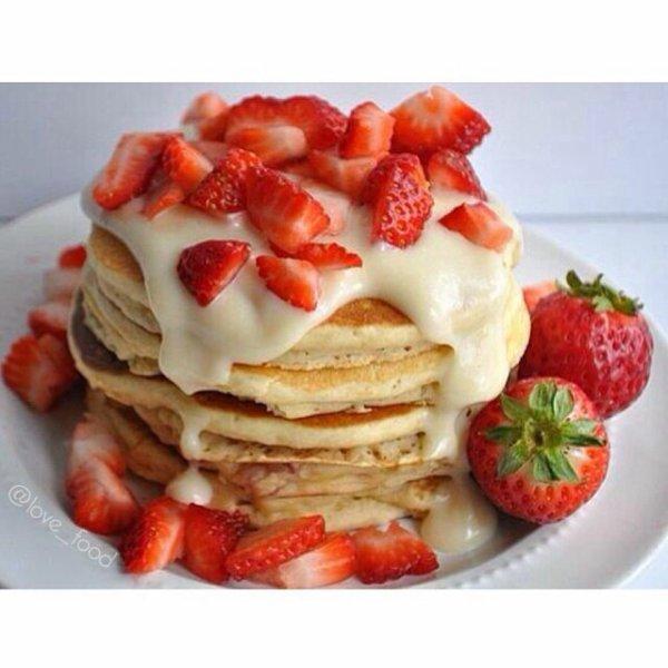 Pancakes fraise et vanille