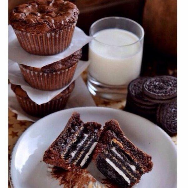 Muffin chocolat et part de gâteau
