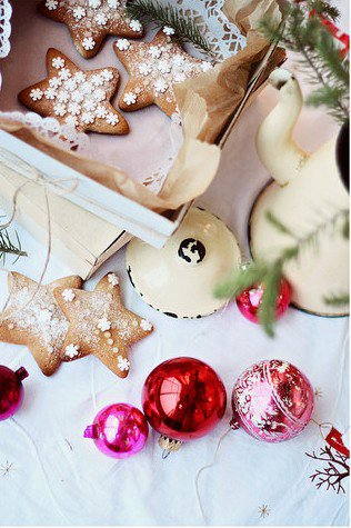 Pain d'épices et boules de Noel