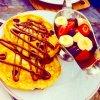 Pancakes chocolat fraise et banane
