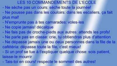 Les 10 commandements de l'école!