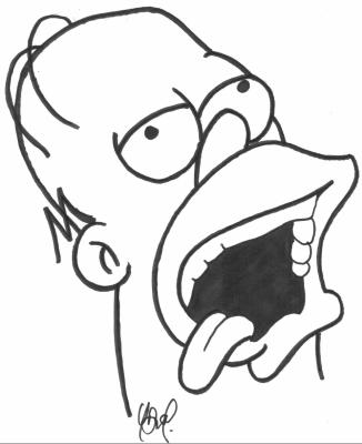 comme ma demander exangue je fais donc un ptit homer simpson pas trop dur a dessiner mais il me fait bien rirele ti cochon sur le plafont
