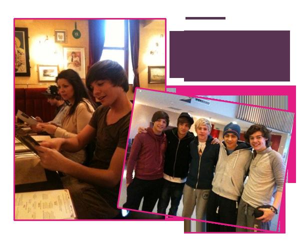 1 Février 2011 ϟ RETOUR CHEZ EUX ! Les 5 garçons dans un café,  Pour l'anniversaire d'Harry. #IlsS'amusent