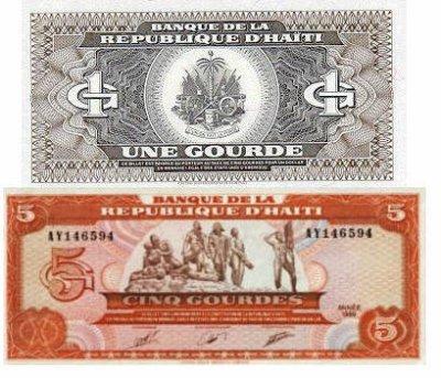Monnaie haïtienne : billets d'1 Gourde et de 5 Gourdes
