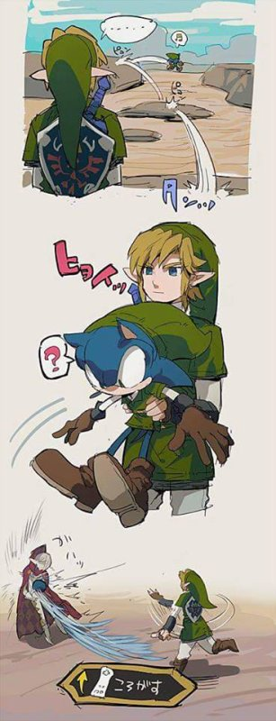 Link et Sonic en une image.
