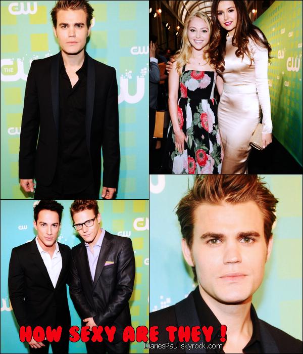 """. PAUL ET LE CAST DE THE VAMPIRE DIARIES A LA CW UPFRONTS  . Le cast de la série s'est rendu à la CW Upfronts à New York City le 17 Mai dernier. Paul s'est alors exprimé sur la manière dont il voulait voir la saison 3 se terminer : """"J'aimerais que l'épisode final de The Vampire Diaries, qu'importe la saison que ce soit, mette en scène Stefan et Damon unis en tant que couple. Je rigole ! Je veux juste qu'ils s'aiment comme des frères."""" Ouf, nous voilà rassurés ! . ."""