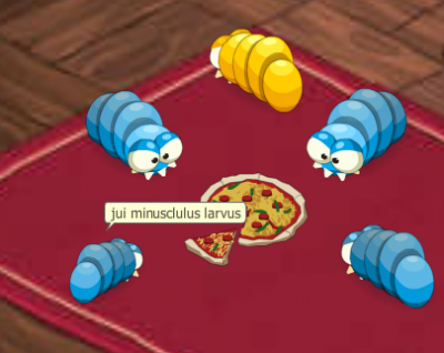 Les larves mange de la pizza