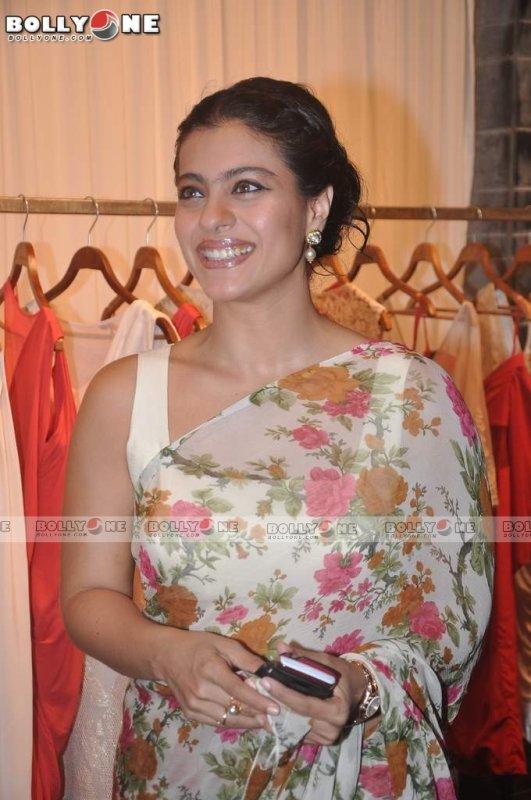 Kajol in Floral Saree at the 'Shantanu & Nikhil' store launch