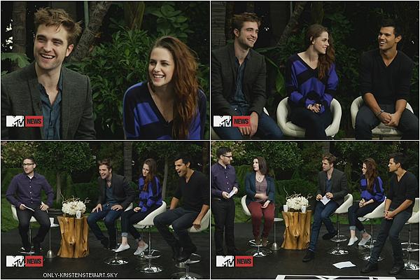 01.11.12 : Les Interviews pour Breaking Dawn Part 2 (avec Kristen, Robert et Taylor) à Los Angeles.