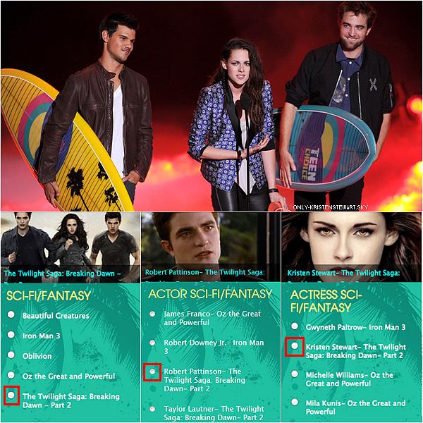 Votez pour Kristen, Robert et Taylor ainsi que Twilight pour les Teen Choice Awards (11.08.2013)