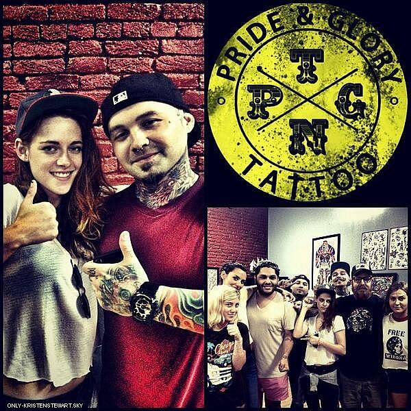 21.06.13 - Kristen et ses amis continue leur road trip, ils ont été vue chez un tatoeur à Nashville :