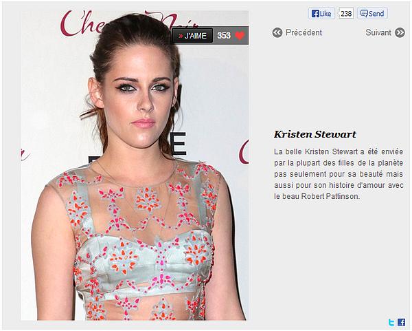 Kristen fait partie des 100 plus belles femmes de la planète selon le site www.Be.com : Kristen se place 16eme au classement, vous pouvez continuer de voter ici (en cliquant sur » J'AIME).
