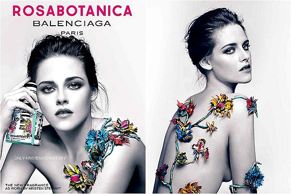 Découvrez les deux photos promo pour le parfum Rosabotanica de Balenciage dont Kristen est l'égérie, elle est superbe j'adore :