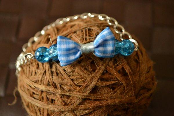 Bracelet perles et noeud vichy