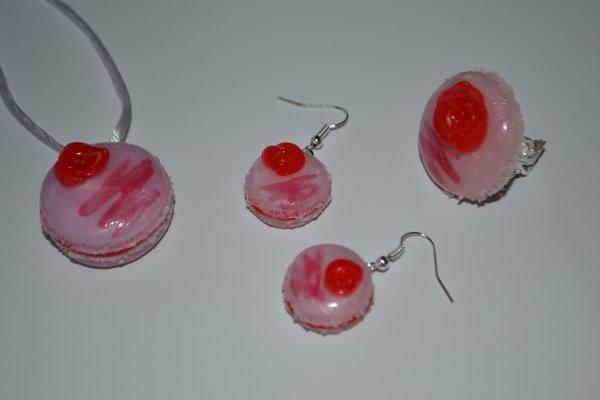 Parure macaron rose et coulis
