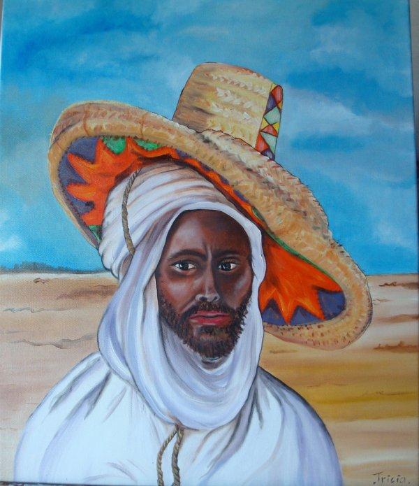 """""""Arabe au grand chapeau"""" modernisation du tableau de Etienne Dinet(1901)"""