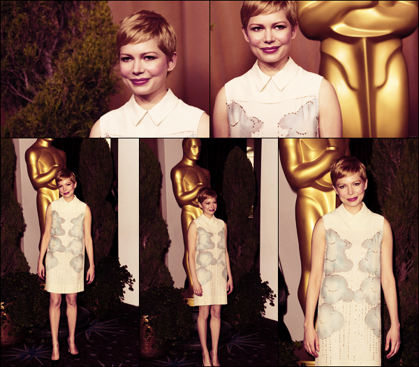 • • Apparition Publique // Michelle était à la 84ème cérémonie annuelle des Academy Award Nominee Luncheon à Los Angeles ! La belle a opté pour une robe imprimé nuages signée Victoria Beckham...