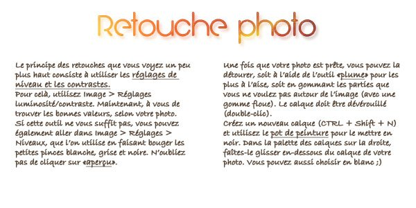 Retouche de photos - l'incontournable.