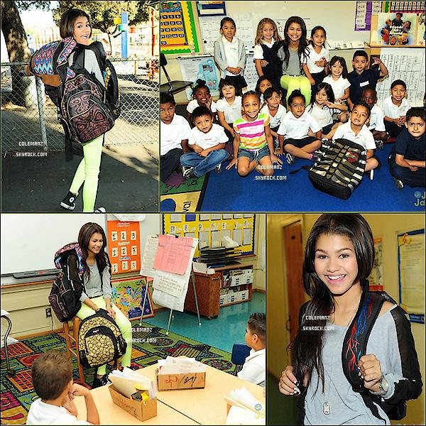 . 01/10/2012 : Zendaya faisant un dons de fournitures scolaires a des enfants dans le besoin. .